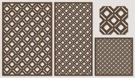 Set dekoracyjny panelu laseru rozcięcie drewniany panel Nowożytny elegancki klasyczny przekątna kwadrata wzór all over Fotografia Royalty Free