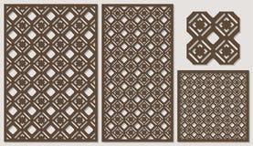 Set dekoracyjny panelu laseru rozcięcie drewniany panel Nowożytny elegancki klasyka kwadrata wzór all over Obraz Stock