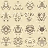 Set dekorative Weinleseelemente Für Visitenkarten Poster, Stockfotos