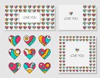 Set dekorować pocztówki z one i serca Obraz Royalty Free