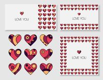 Set dekorować pocztówki z one i serca Obrazy Stock