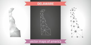Delaware set of grey and silver mosaic 3d polygonal maps. Graphic vector triangle geometry outline shadow perspective maps. Set of Delaware polygonal mosaic Royalty Free Stock Photos