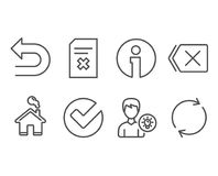 Delete file, Verify and Remove icons. Person idea, Undo and Full rotation signs. Set of Delete file, Verify and Remove icons. Person idea, Undo and Full Royalty Free Stock Image