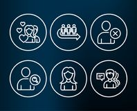 Delete user, Find user and Couple icons. Queue, Woman and People signs. Set of Delete user, Find user and Couple icons. Queue, Woman and People signs. Remove Royalty Free Stock Photo