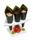 Set of delicacies in the horns of nori Royalty Free Stock Images