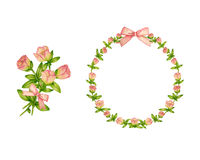 Set of Delicate Flower Wreath Vector and Floral Bouquet. Royalty Free Stock Photos