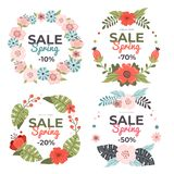 Set of delicate hand-drawn Spring Sale banners. Vector illustration. royalty free illustration