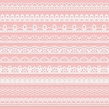 Set of delicate lace borders for design. White seamless ribbons on a pink background. royalty free illustration