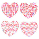 Set of delicate multicolored hearts for decoration. Vector illustration Stock Photos