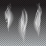 Set of delicate white cigarette smoke waves on transparent background, digital realistic smoke, vector 3D illustration Royalty Free Stock Photography