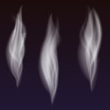 Set of delicate white cigarette smoke waves on transparent background, digital realistic smoke, vector 3D illustration Royalty Free Stock Photos