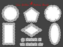 Set of delicate White Lace pattern brush and different lacy napkins, doilies and tracery elements. Stock Images