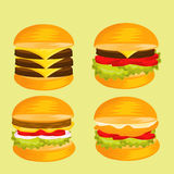 Set of delicious Burger image. The set of delicious Burger image vector illustration