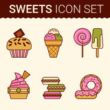 Set of delicious cakes. Sweet desserts vector illustration Royalty Free Stock Photography