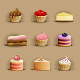 Set of delicious cakes Royalty Free Stock Photo