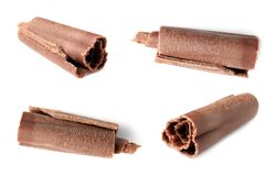 Set of delicious chocolate curls on white background stock photography