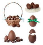 Set of delicious chocolate Easter eggs. On white background stock photos