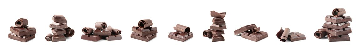 Set of delicious chocolate pieces and curls. On white background stock photography