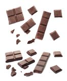 Set with delicious chocolate. On white background stock photography