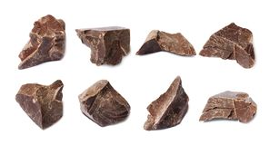 Set with delicious chocolate. On white background royalty free stock photography