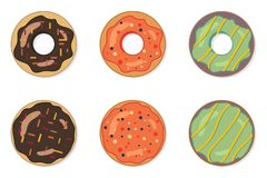 Set of delicious colorful donuts. Tasty bakery product. Food design.  Vector illustration. Tasty bakery product. Set of delicious colorful donuts. Food design vector illustration