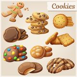 Set of delicious cookies. Vector illustration. Set of delicious cookies. Cartoon vector illustration. Food sweet icons Royalty Free Stock Photo