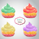 Set of delicious cupcakes with different toppings Royalty Free Stock Photo