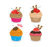 Set of delicious cupcakes isolated on white background Stock Images