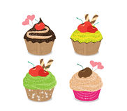 Set of delicious cupcakes isolated on white background Stock Photos