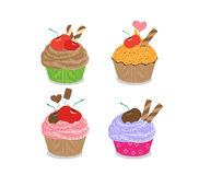 Set of delicious cupcakes isolated on white background Royalty Free Stock Photo