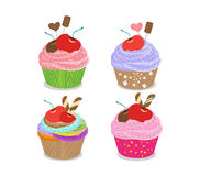 Set of delicious cupcakes isolated on white background Stock Photography