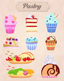 Set of delicious food icons. Cakes and Pastry Vector Illustration. Vintage style. Royalty Free Stock Photography