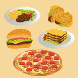 Set of delicious food. Vector image set of delicious food Royalty Free Stock Images