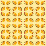 Set of delicious fresh burgers. Watercolor illustration isolated on yellow background.Seamless pattern royalty free illustration
