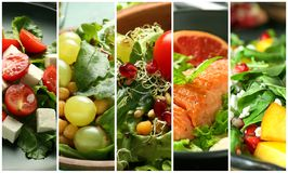 Set of delicious healthy dishes royalty free stock photos