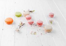 Set of delicious macaroons, pink, orange, pastel Royalty Free Stock Images