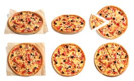 Set with delicious pizza stock photography