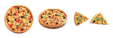 Set with delicious pizza stock image