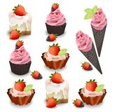 Set of delicious sweets and desserts with fruits. Summer confectionary bakery treats Vector illustration Royalty Free Stock Photography