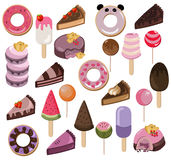 Set of delicious sweets and desserts with fruits. Summer confectionery bakery treats Vector illustration Royalty Free Stock Photo