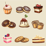 Set of delicious sweets and desserts Stock Photos