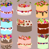Set of delicious vector cakes with fruits and berries Royalty Free Stock Image