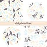 Set delikatni kwieciści wzory i emblematy na białym tle z kwiecistymi elementami i dekoracyjnymi piórkami royalty ilustracja