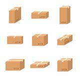 Set delivery cardboard boxes different sizes carton. Set delivery cardboard boxes different sizes carton vector isolated on white background. Cardboard boxes Stock Photos