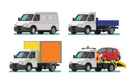 Set of delivery cars and tow truck. Vector Stock Photos