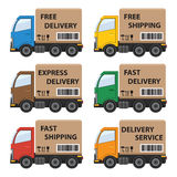 Set of delivery cars. Royalty Free Stock Photography