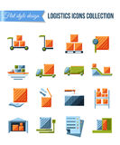 Set of delivery and logistics systems flat icons with shipment, warehouse, weighting, false documents and transportation Royalty Free Stock Images