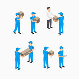 Set of delivery man with boxes Royalty Free Stock Photography