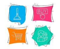 Delivery shopping, Buying and Plunger icons. Women headhunting sign. Set of Delivery shopping, Buying and Plunger icons. Women headhunting sign. Online buying Stock Image