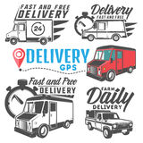 Set of delivery truck for emblems and logo. Stock Photo